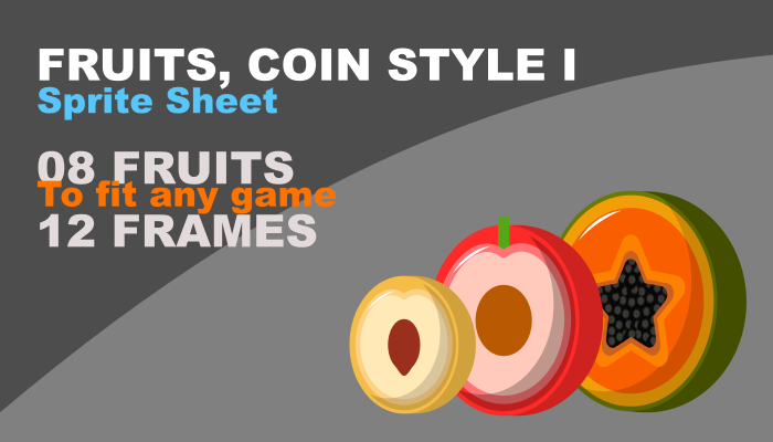 Sliced fruit, coin style, pack I (with animations)