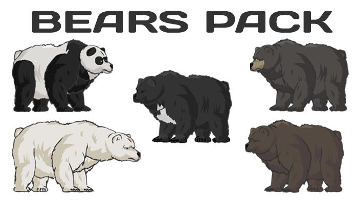Bear Pack(Panda, Himalayan bear, Brown Bear, Black bear)