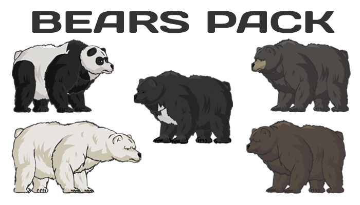 Bear Pack(Panda, Himalayan bear, Brown Bear, Black bear)