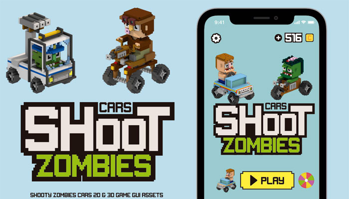 Shoot Zombies Cars 2D&3D Game Assets
