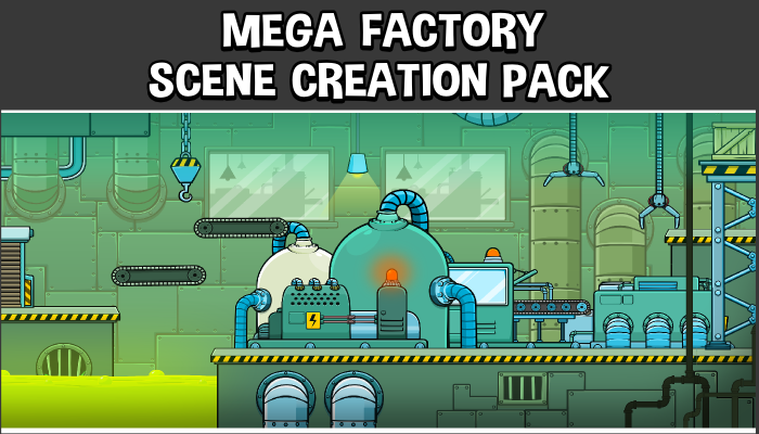 Mega factory scene creation 2d game asset pack