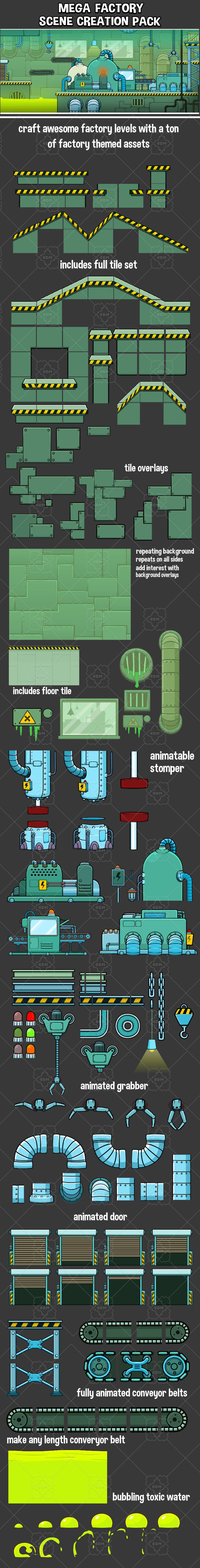Mega factory scene creation 2d game asset pack