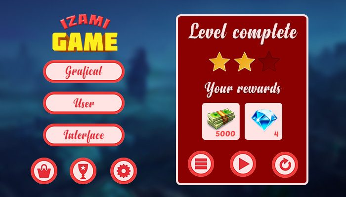 Game GUI buttons set: Orange ice-cream