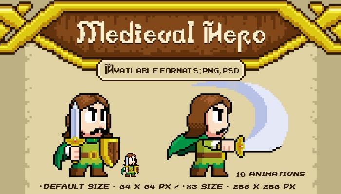 Medieval Hero – Pixel Character Spritesheet
