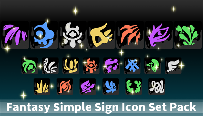 Fantasy Simple Sign Icon Set Pack