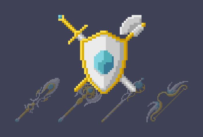 Light Fantasy Weapons (Pixel-Art)