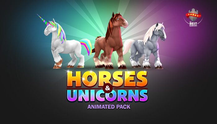 Horses & unicorns animated pack