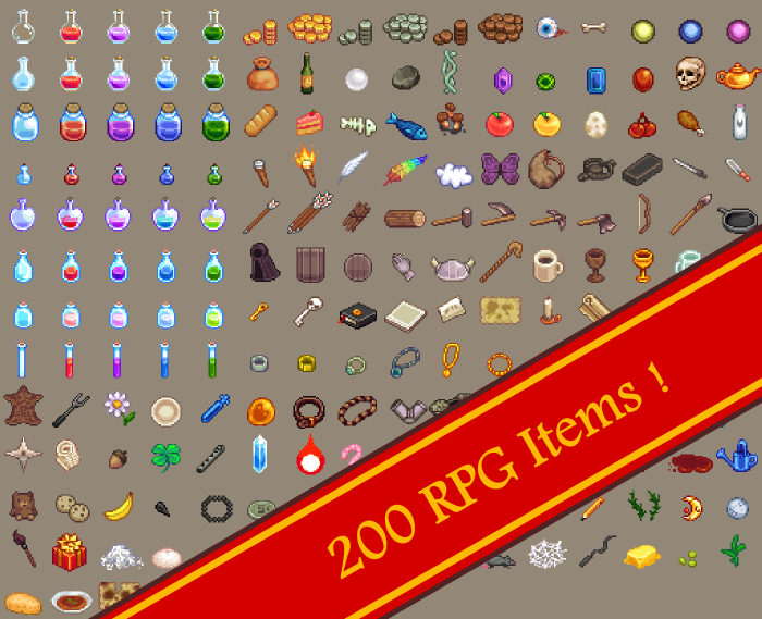 200 RPG Inventory Loot Drops
