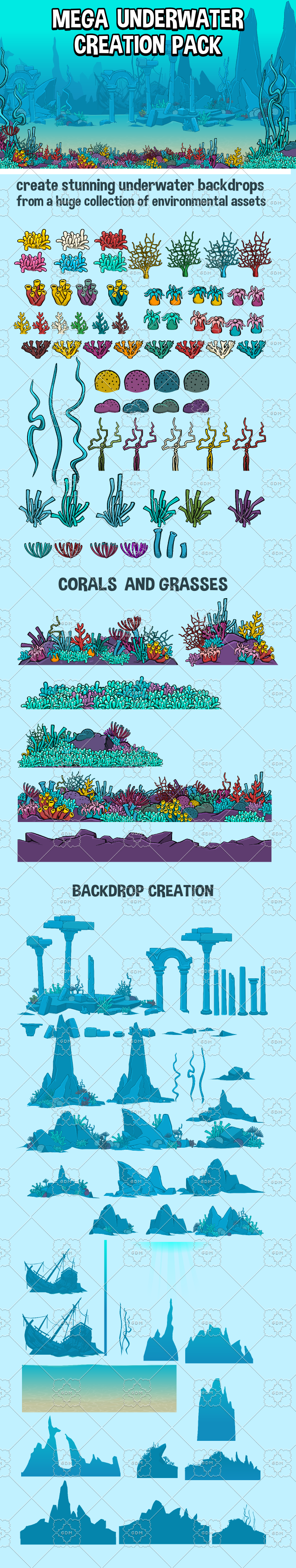 Mega underwater scene creation pack