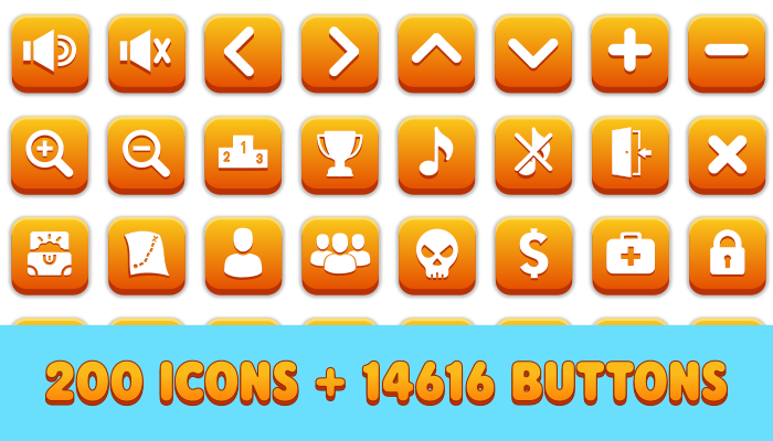 Ultimate Icon & Button Pack(200 Icons and 14616 Buttons)