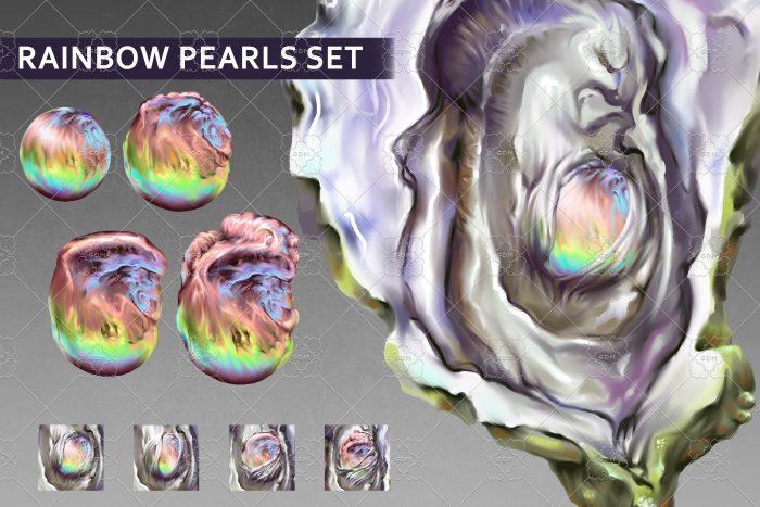Rainbow pearls set