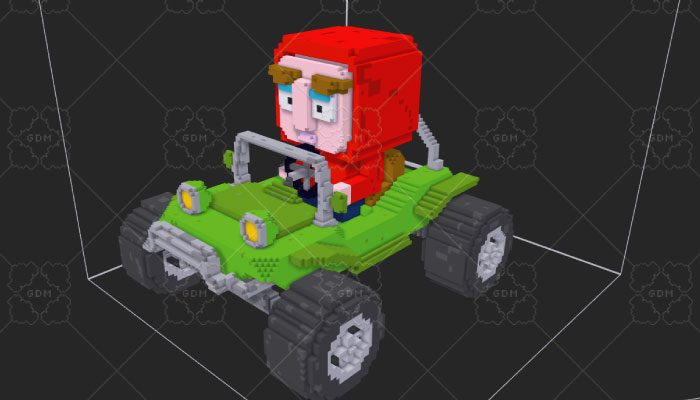 Voxel Buggy Race Car & Character
