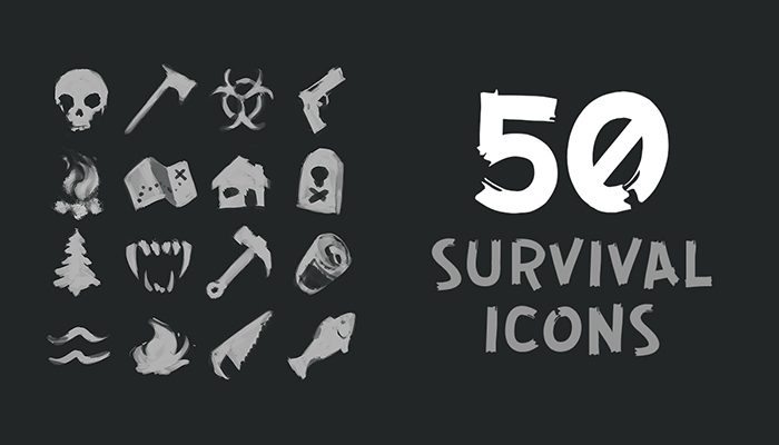 50 Flat Survival Icons