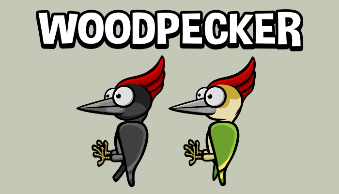 Animated woodpecker game sprite