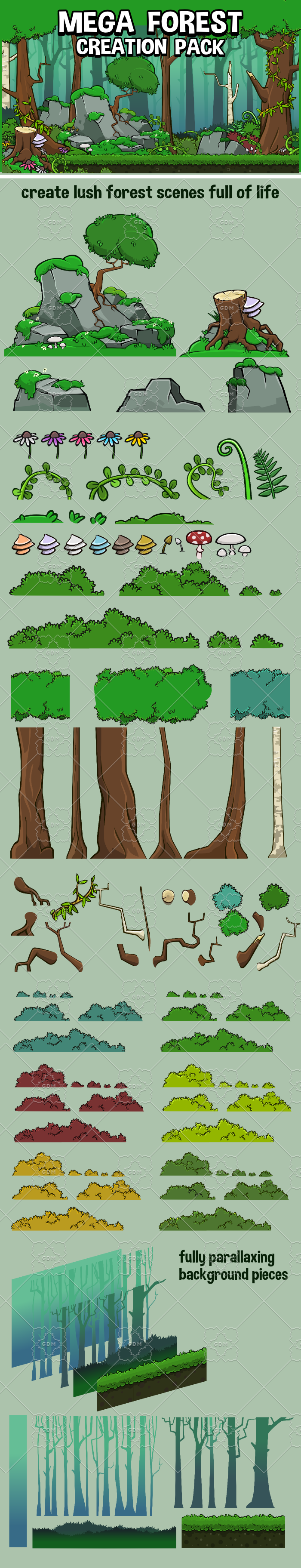 Mega forest scene game asset pack