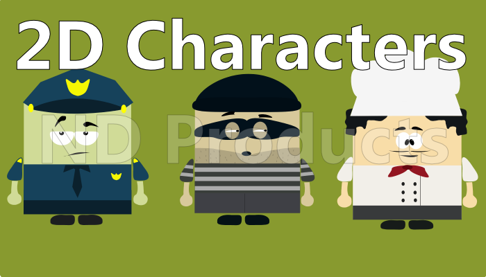 2D Cartoon characters pack