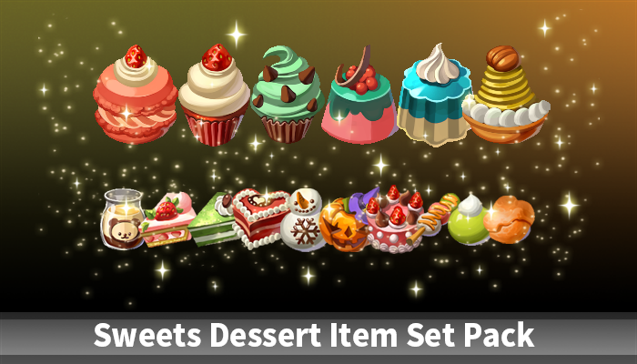 Sweets Dessert Item Set Pack
