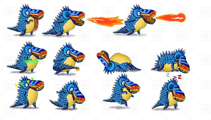 Spine 2D Platformer Character Dino2