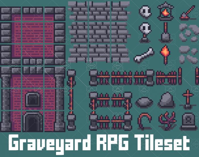 Graveyard RPG Tileset