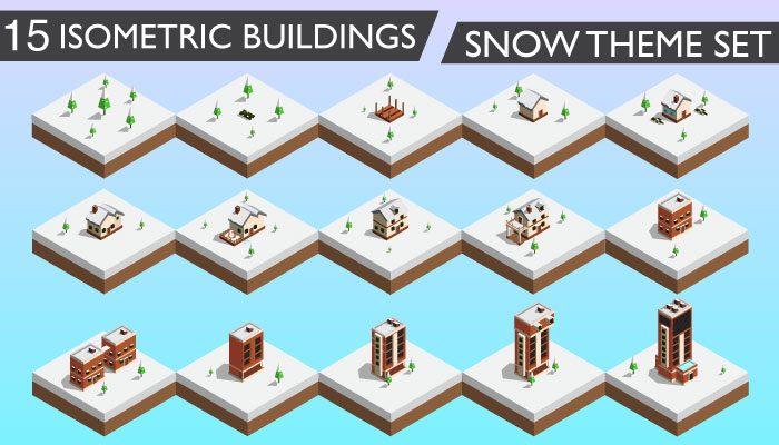 15 Isometric Buildings Set (Snow Theme)