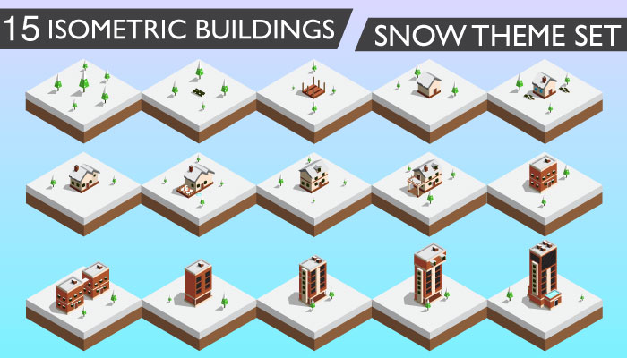 15 Isometric Buildings Set (Snow Theme)