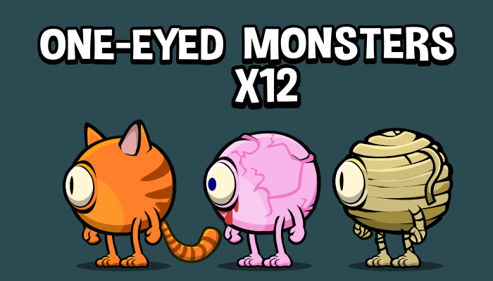 One eyed monster 2d game sprite collection