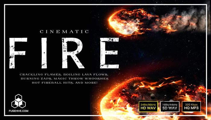 Cinematic Fire Sound Effects Library – Burning Blaze Flame Fireball Lava SFX Royalty Free Audio Pack