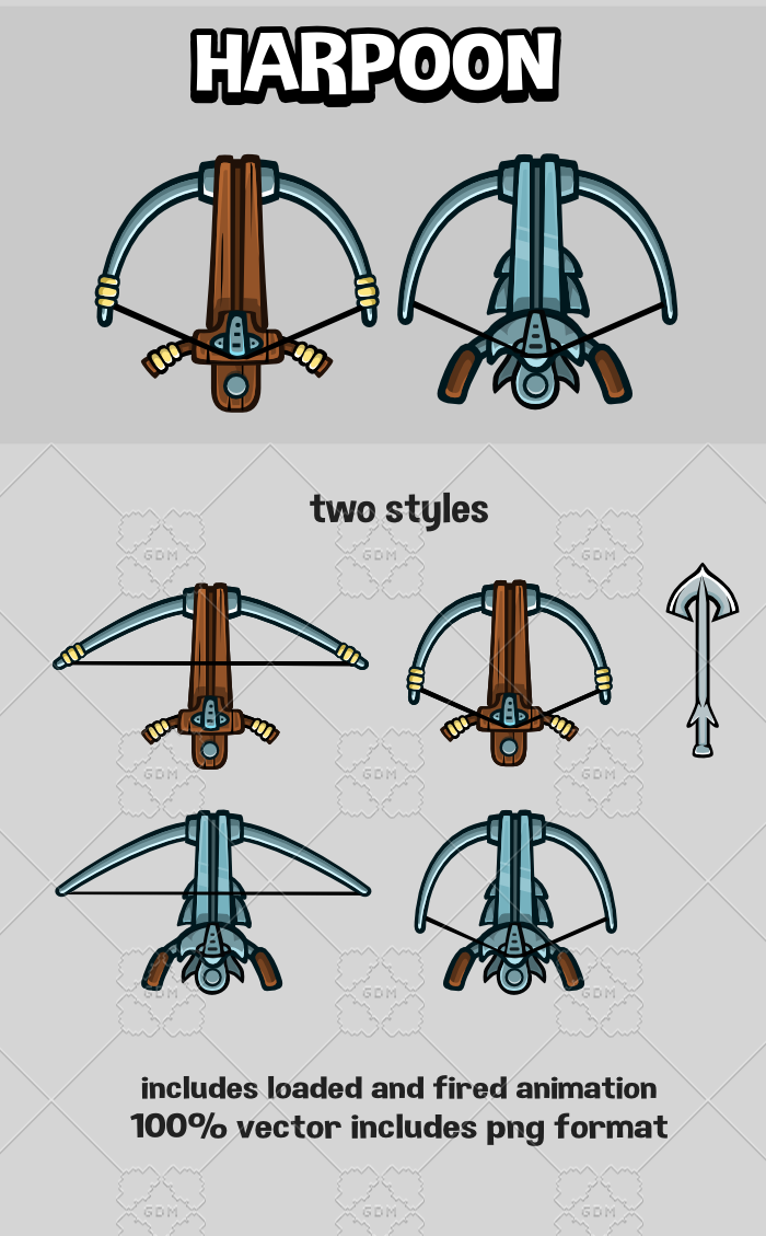 Animated harpoon game sprite