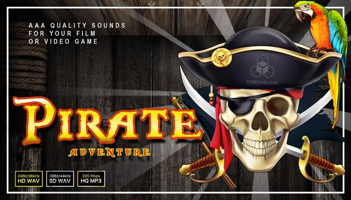 Pirate Adventure Sound Effects Library – Caribbean Gold Treasure Theme Royalty Free SFX Audio Pack