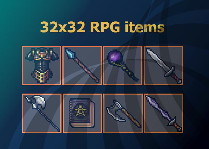 Various 32×32 RPG items