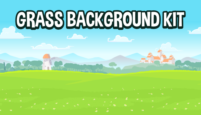 Scenic grassy 2d game background