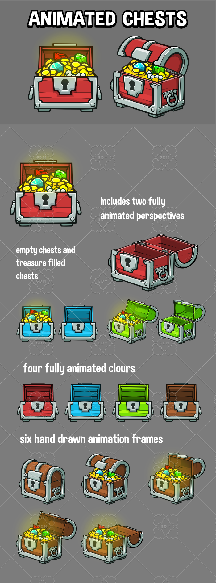Animated 2d treasure chest game asset