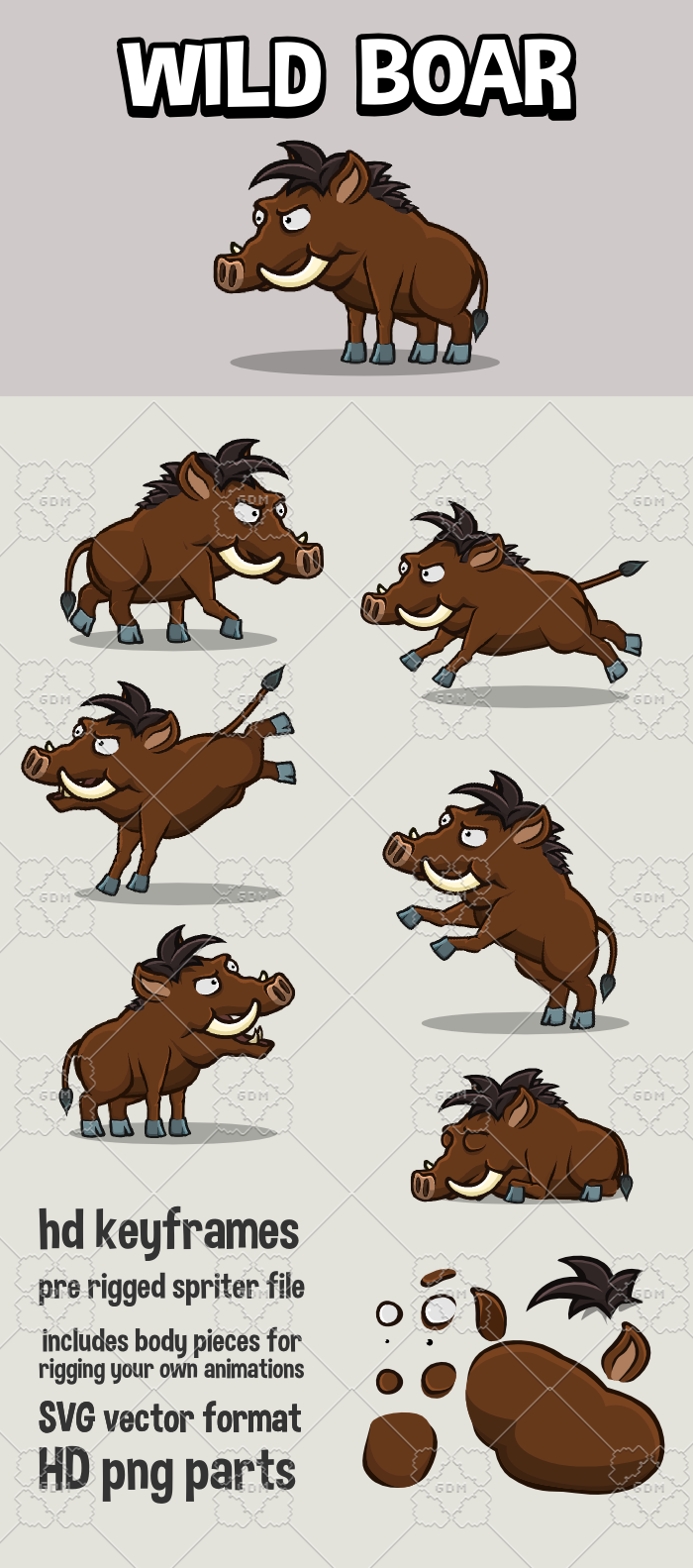 Animated wild boar game asset