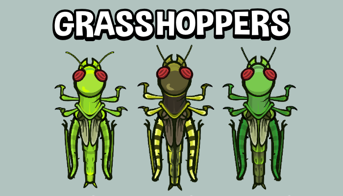 Animated top down grasshopper insect game sprite