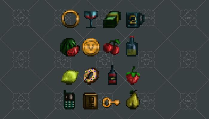 Items pixel art 16 pieces