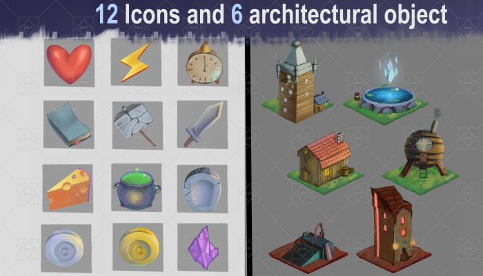 GAME ASSETS |12 Icons and 6 architectural object