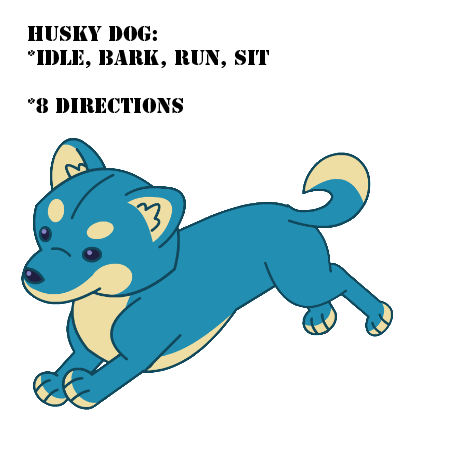 2D Husky Dog animated vector puppet sprite sheet
