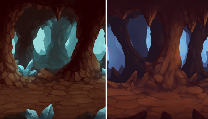 2D Cave Parallax Background
