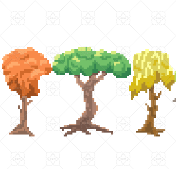 six pixel trees