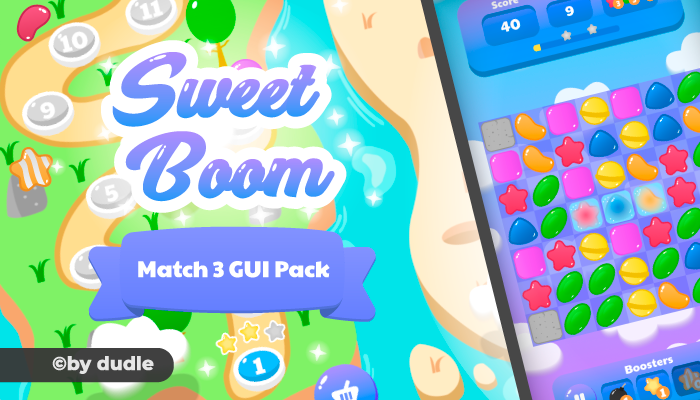 Sweet Boom UI – Match 3 GUI Pack