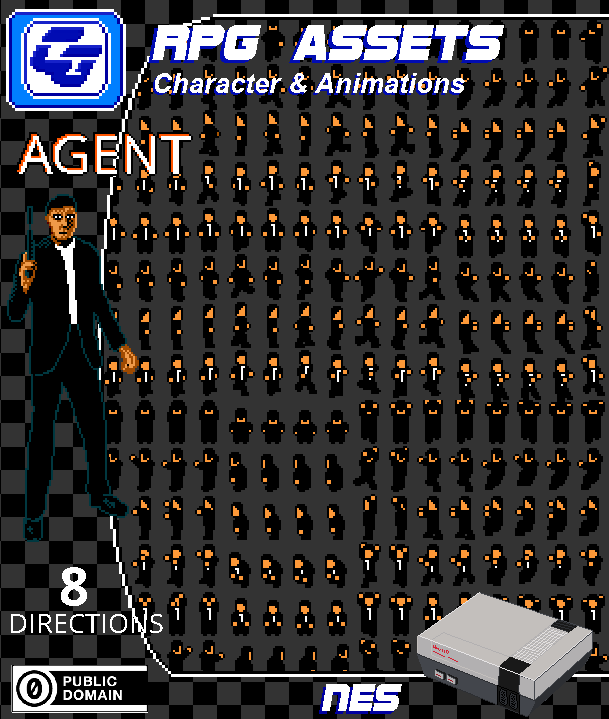RPG Asset Character 'Agent' NES