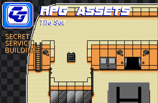 RPG Asset Tile Set ' Secret Service building' NES