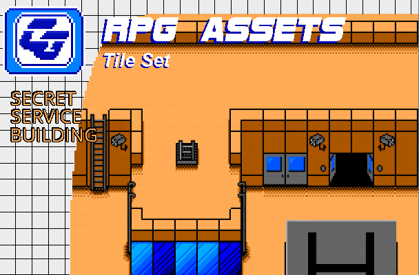 RPG Asset Tile Set ' Secret Service building' SMS