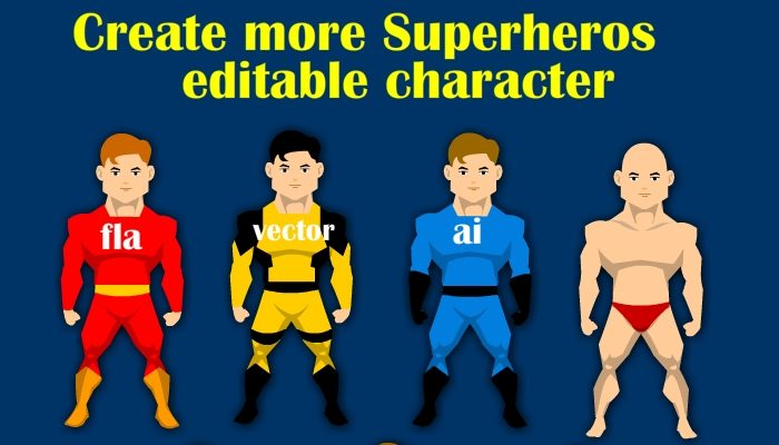 Customizable super hero character vector