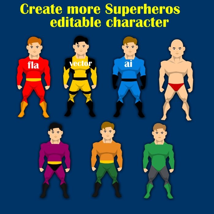 Customizable super hero character vector