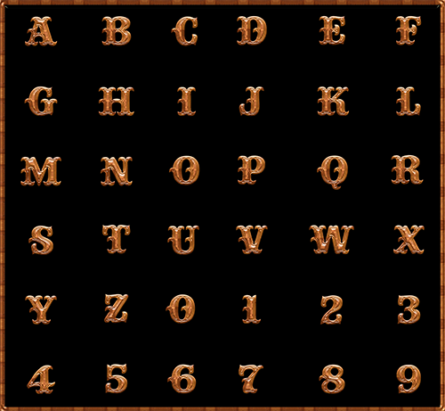 Western Wood (Alphabets, Numbers, & Punctuation)