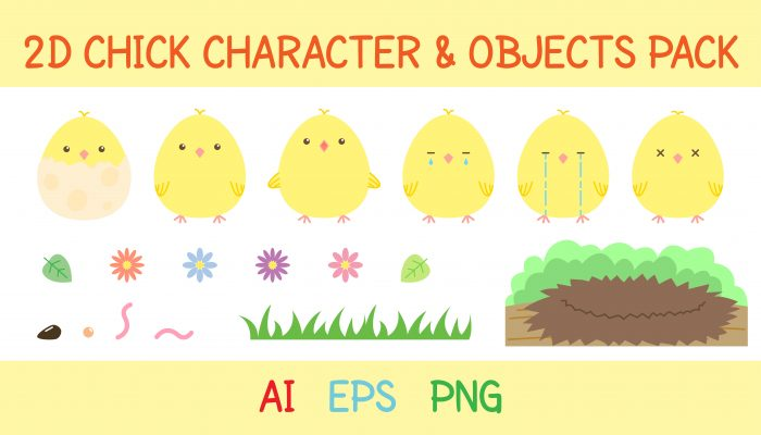 2D chick character and objects pack