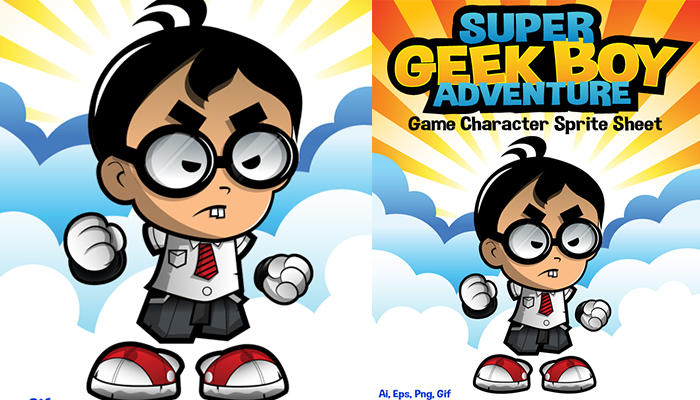 Geek Boy Adventure Character