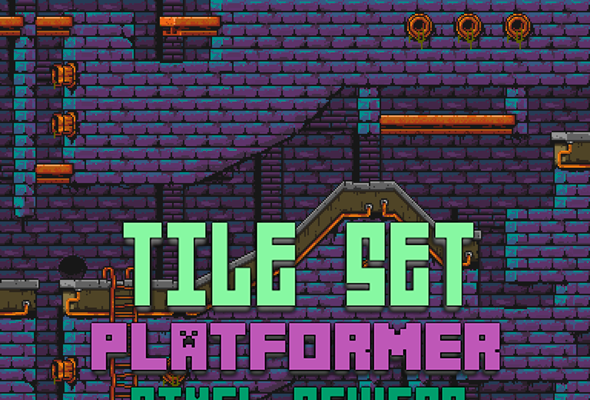 Tile Set – Platformer – Pixel Art – Sewers V1
