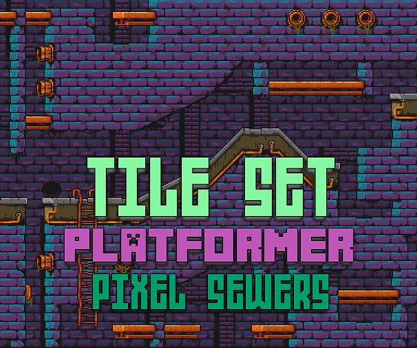 Tile Set – Platformer – Pixel Art – Sewers V1